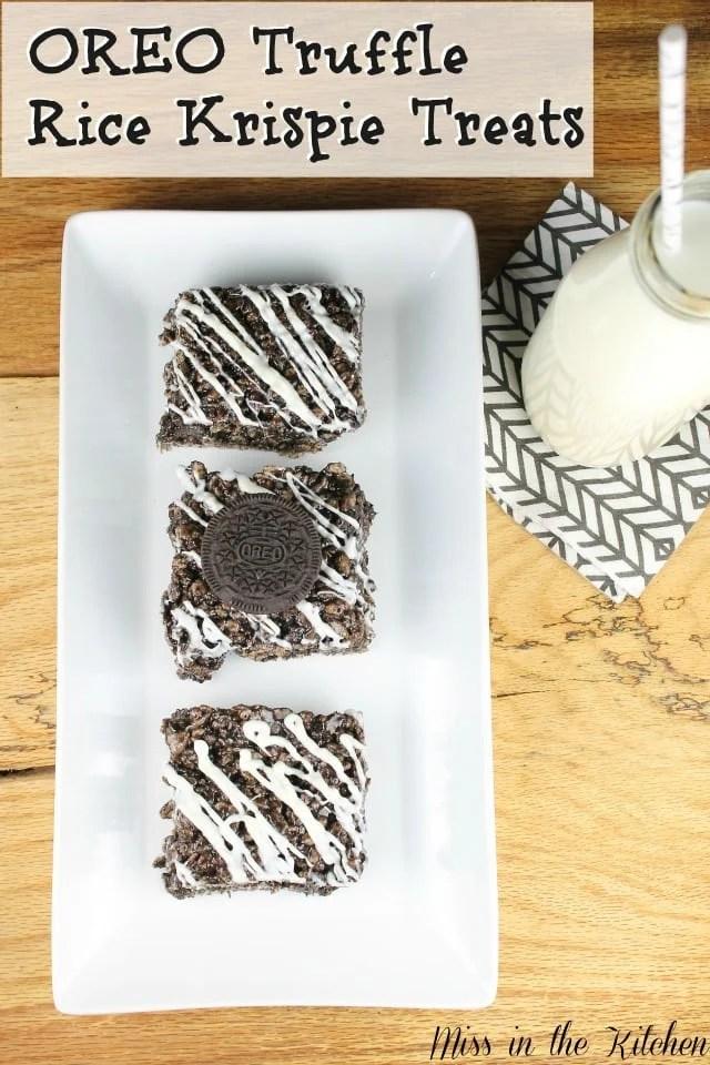 OREO Truffle Rice Krispie Treats from Miss in the Kitchen