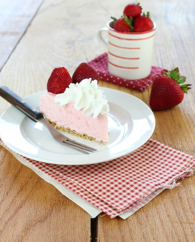 Strawberry Cheesecake Ice Cream Pie Recipe from Miss in the Kitchen