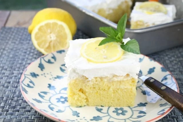Lemon-Pineapple Poke Cake Recipe from Miss in the Kitchen