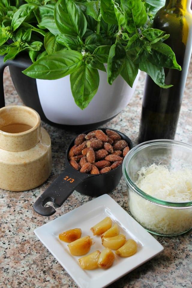 Ingredients for Roasted Garlic Basil Pesto