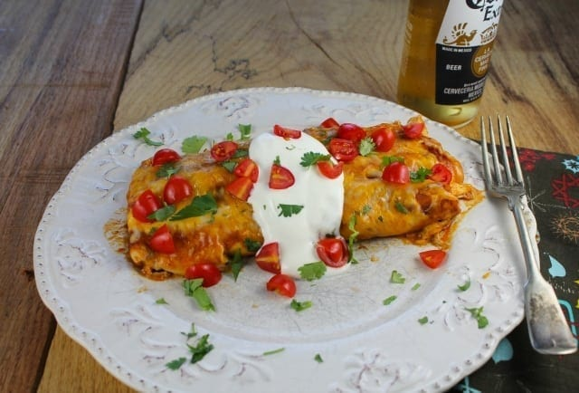 Epic Creamy Chicken Enchiladas from Miss in the Kitchen #recipe