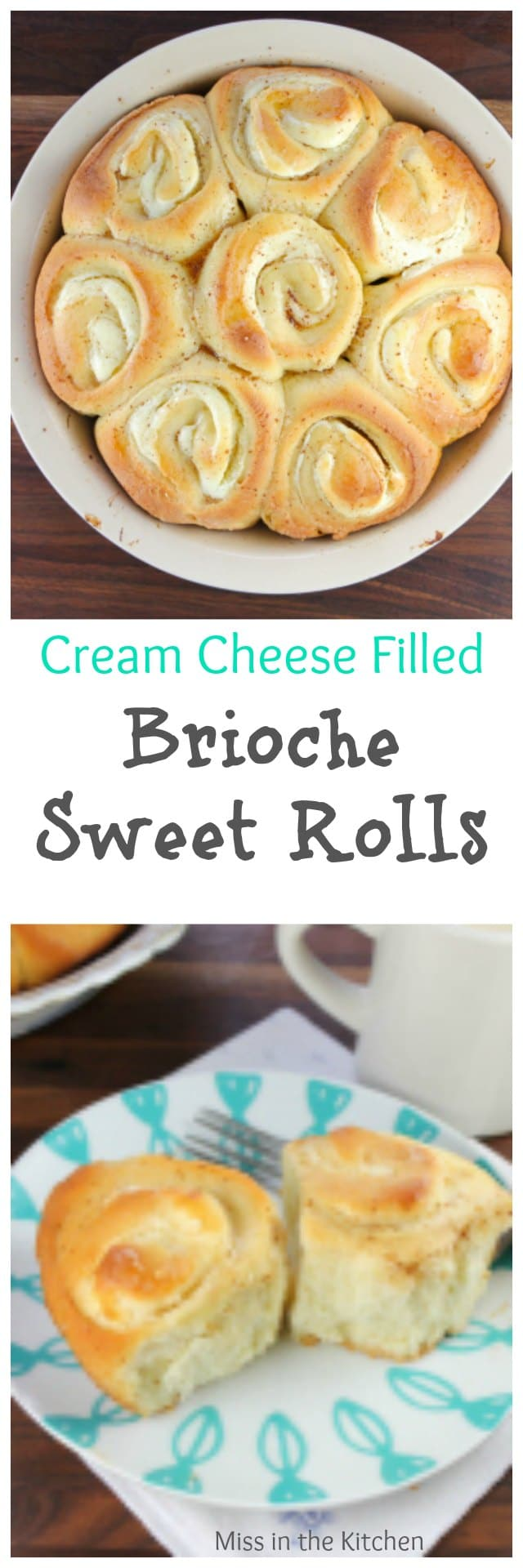 Cream Cheese Filled Brioche Sweet Rolls Recipe ~ perfect to bake and share for the holidays. Made with Red Star Yeast. MissintheKitchen.com #ad