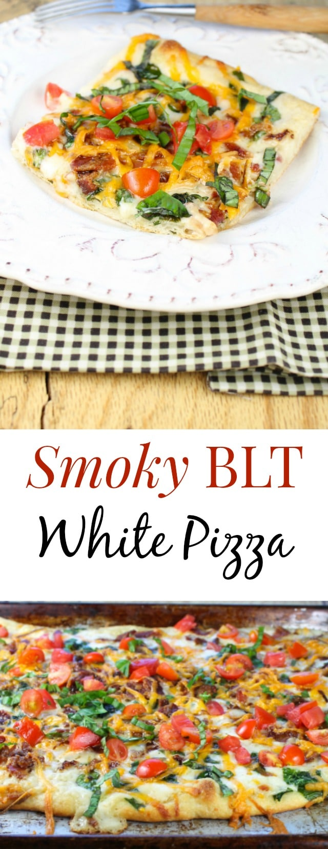 Smoky BLT White Pizza Recipe found at missinthekitchen.com