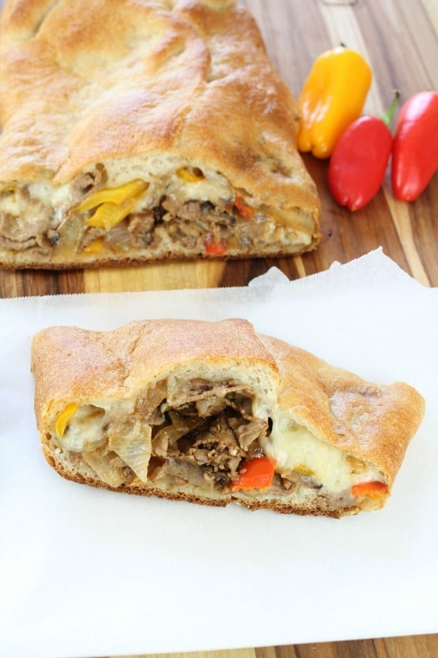 Easy Cheesesteak Stromboli is a quick and delicious meal ready in just 30 minutes.  Recipe from missinthekitchen.com