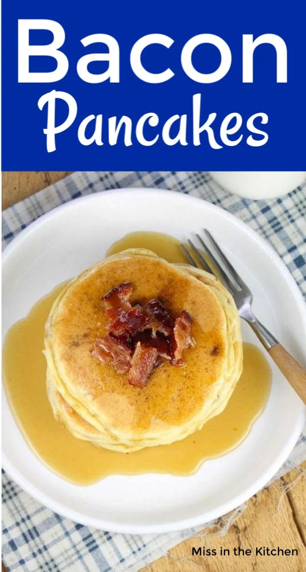 Plate of pancakes with bacon