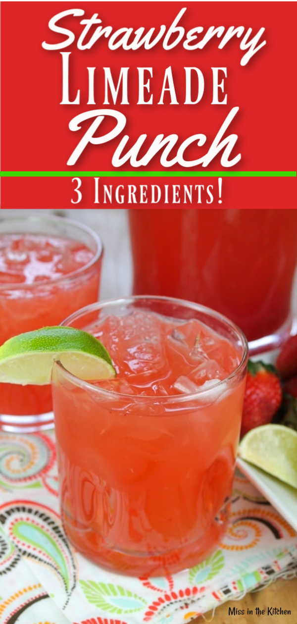 3 Ingredient Strawberry limeade Party Punch