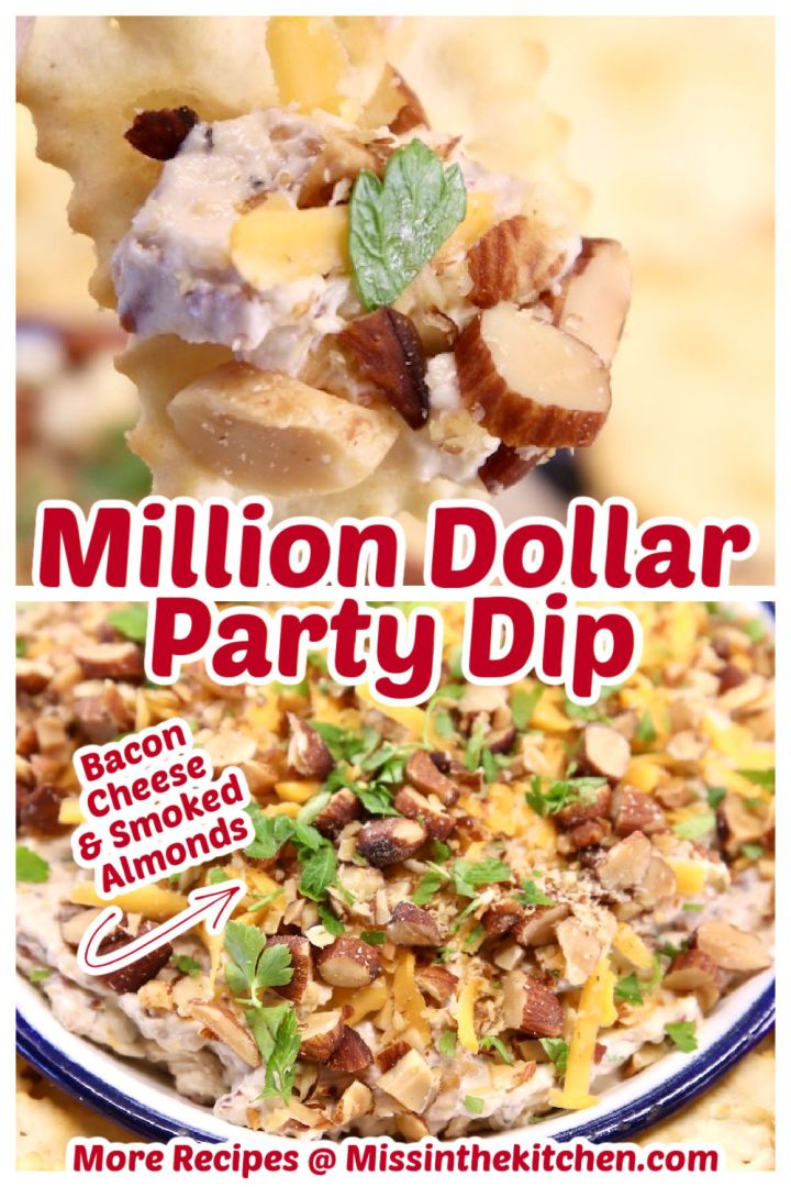 Million Dollar Dip collage, closeup on a chip and bowlful - text overlay