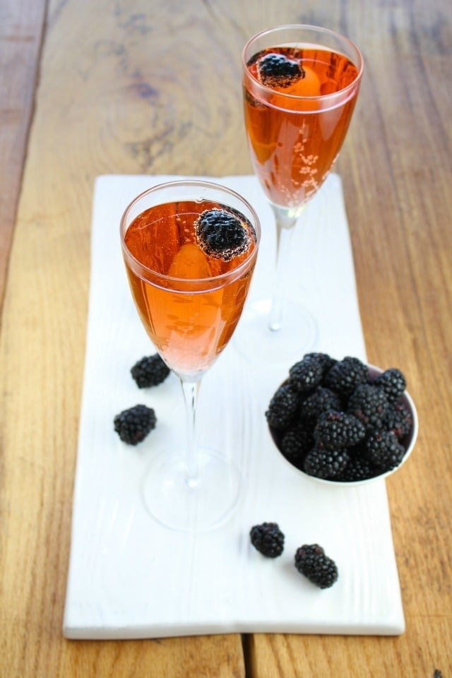 Blackberry Kir Royale Cocktail from Miss in the Kitchen