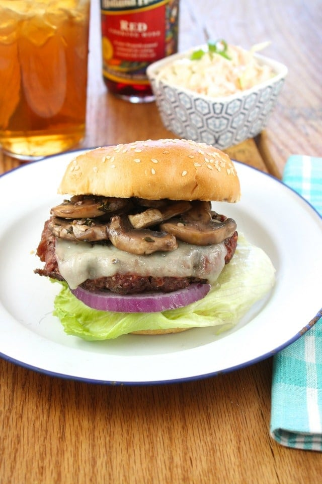 Gourmet Burgers with Red WIne Braised Mushrooms with Holland House Red Cooking Wine from Miss in the Kitchen