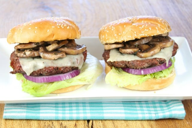 Gourmet Burgers with Red Wine Braised Mushrooms from Miss in the Kitchen