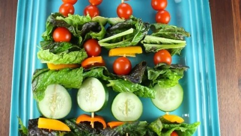 Salad Kebabs are a fun twist on your favorite green salad for summer get togethers! #ProgressiveEats Recipe at missinthekitchen.com
