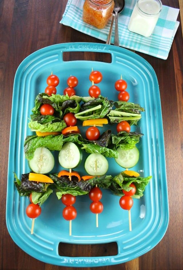 Salad Kebabs are a fun twist on your favorite green salad for summer get togethers! #ProgressiveEats Recipe at missinthekitchen.com