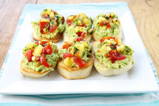 Pineapple Pico de Gallo Avocado Toasts from Miss in the Kitchen