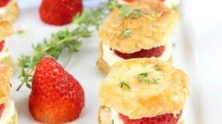 Strawberries and Cream Puff Pastry Bites
