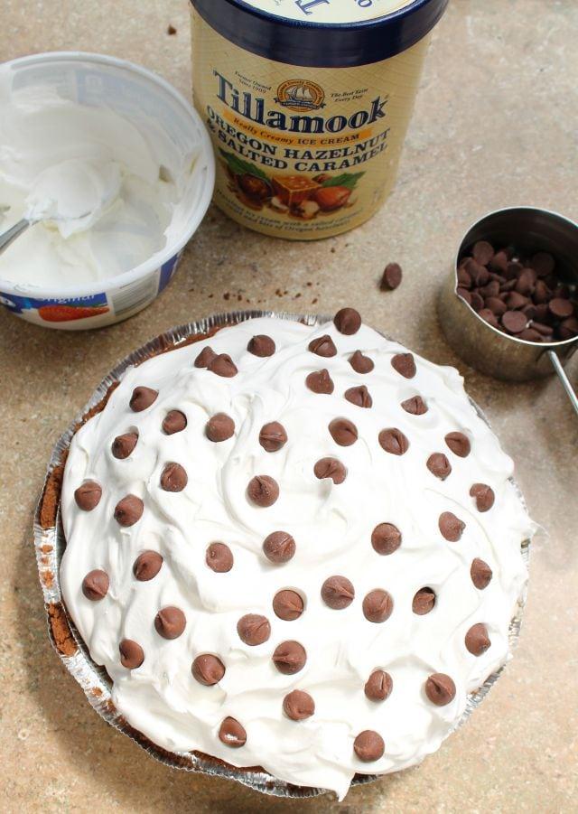 Salted Caramel Hazelnut Ice Cream Pie from missinthekitchen