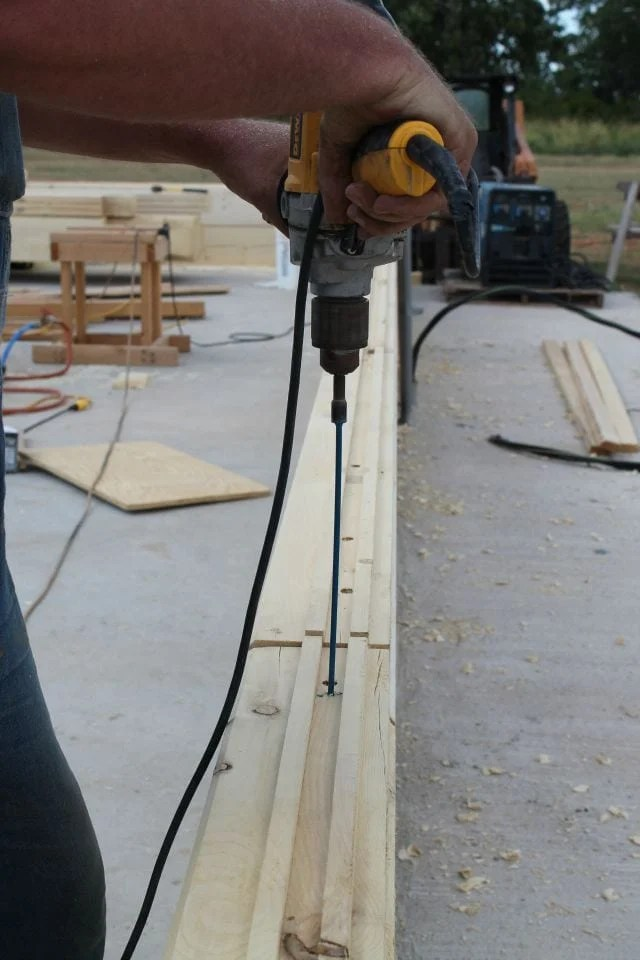 14 inch log screws to tie courses together for log cabin  missinthekitchen #LogCabinSaturday