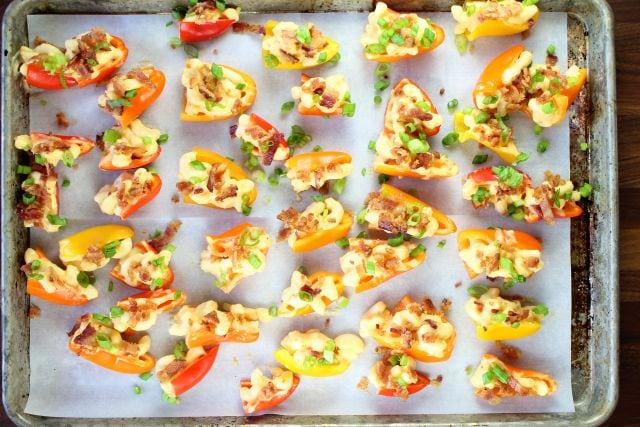 Bacon Mac and Cheese Stuffed Mini Peppers ~ missinthekitchen