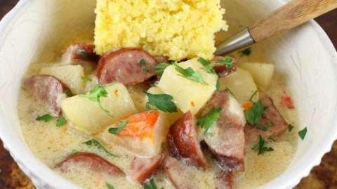 Slow Cooker Cheesy Smoked Sausage and Idaho Potato Soup