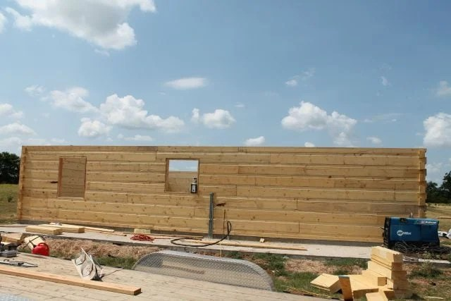 Log Cabin Exterior finished wall side1 Log Cabin Saturday #2 Miss in the Kitchen