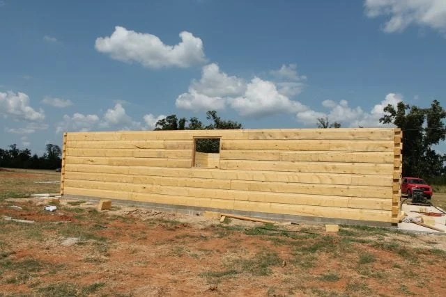 Rear Log Wall ~ Exterior finished wall Log Cabin Saturday #2 Miss in the Kitchen