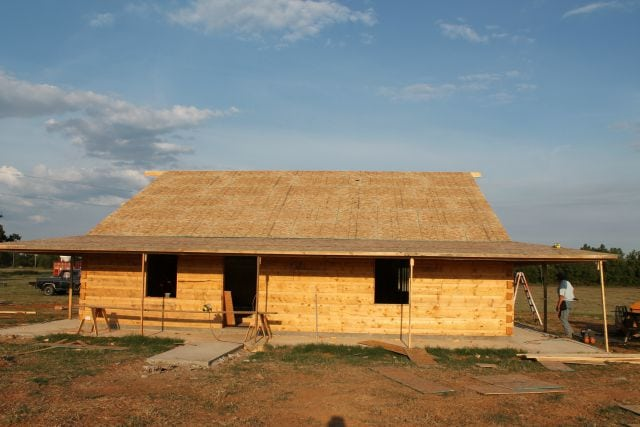 Roof Sheeting and framed porch - front  Log Cabin Saturday #4 Miss in the Kitchen