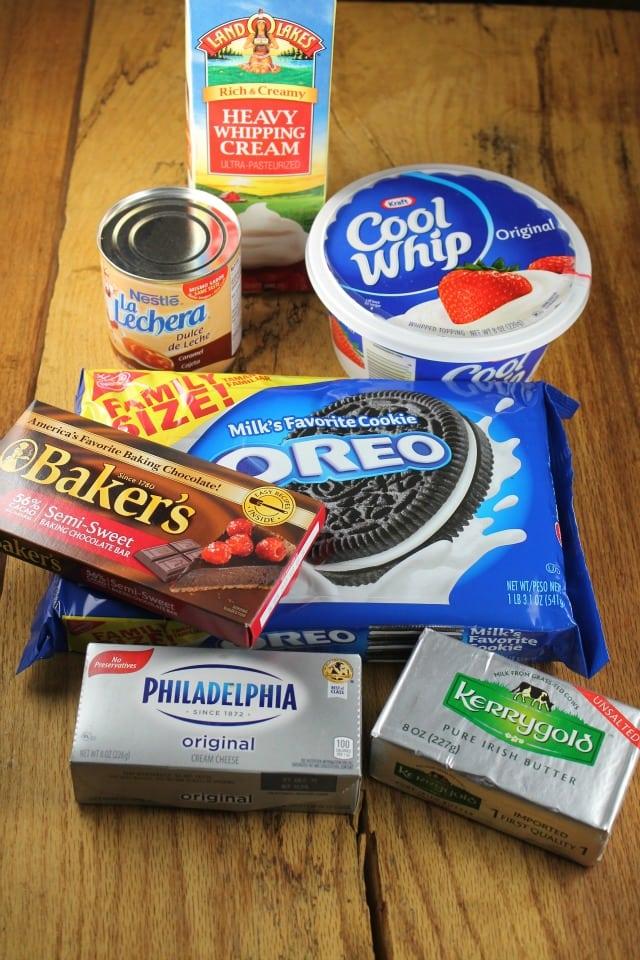 Ingredients for No Bake Fudge Bottom Ca