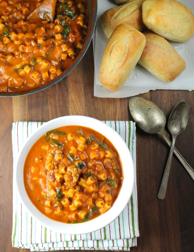 Italian Sausage Pasta Soup Recipe from missinthekitchen.com #NourishEveryBody