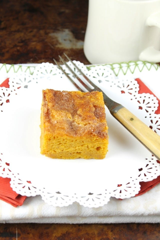 Pumpkin Snickerdoodle Snack Cake Recipe from Miss in the Kitchen