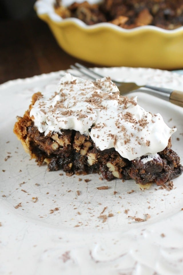 Mocha Pecan Pie Recipe is the perfect dessert for holiday dinners! From Miss in the Kitchen