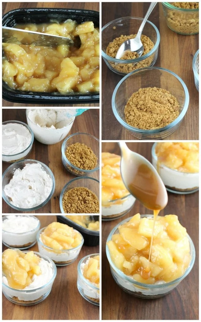 No Bake Cinnamon Cheesecakes with Glazed Apples from Miss in the Kitchen