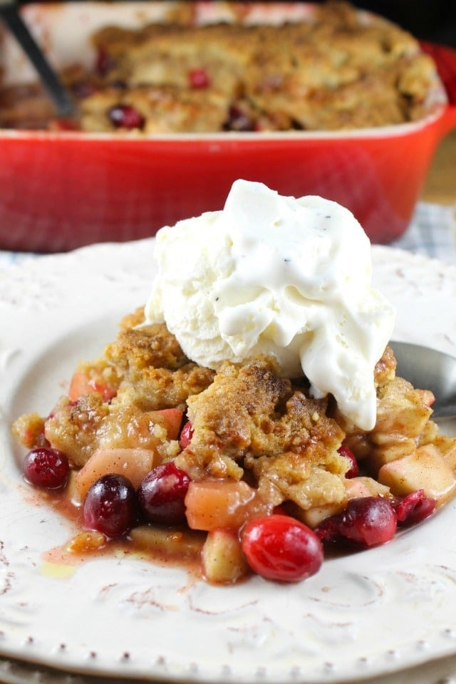 Delicious for the holidays! Warm Apple and Cranberry Almond Crumble Recipe from Miss in the Kitchen