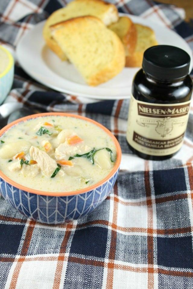 Chicken Gnocchi Soup made with Nielsen Massey Vanilla Bean Paste from Missinthekitchen.com