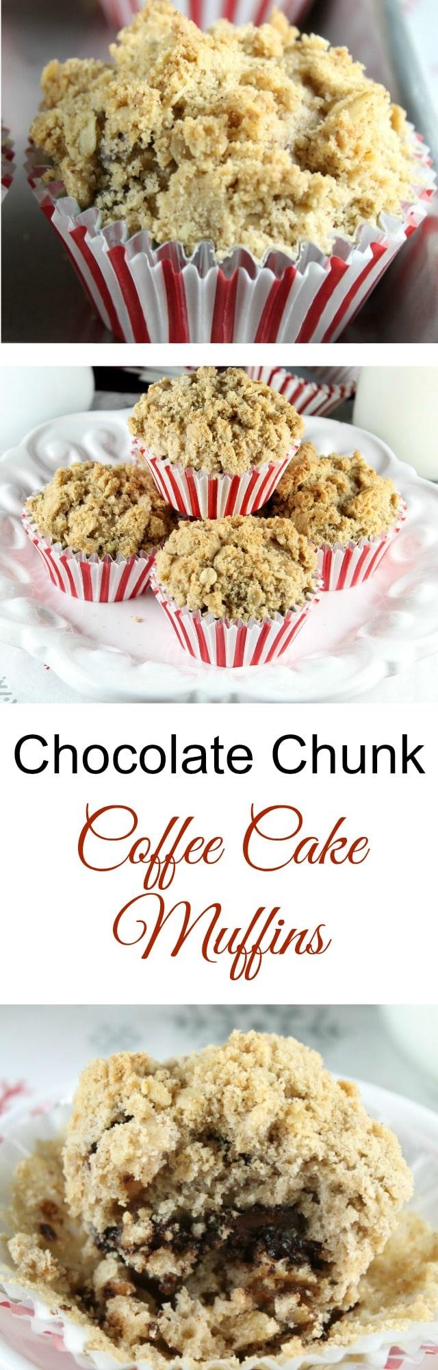 Recipe for Chocolate Chunk Coffee Cake Muffins made with Red Star Yeast Platinum ~ MissintheKitchen.com #sponsored