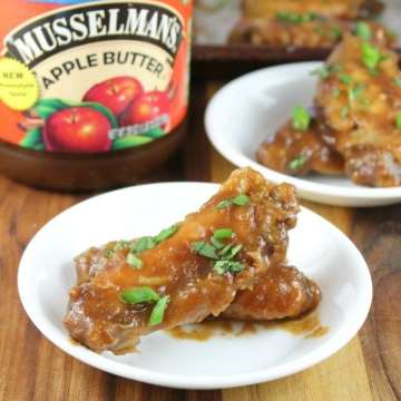 Asian Chicken Wings Recipe made with Musselman's Apple Butter for a great game day appetizer from MissintheKitchen.com #AppleButterSpin