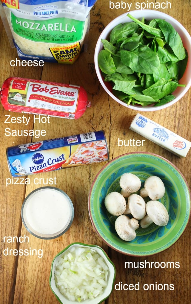 Ingredients for Zesty Sausage and Spinach Ranch Rolls with Bob Evans recipe at missinthekitchen.com