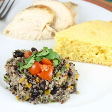 Southwest Quinoa Heart Healthy Side Dish or Meatless Main Dish from MissintheKitchen.com #SmartBalanceFTW #sponsored