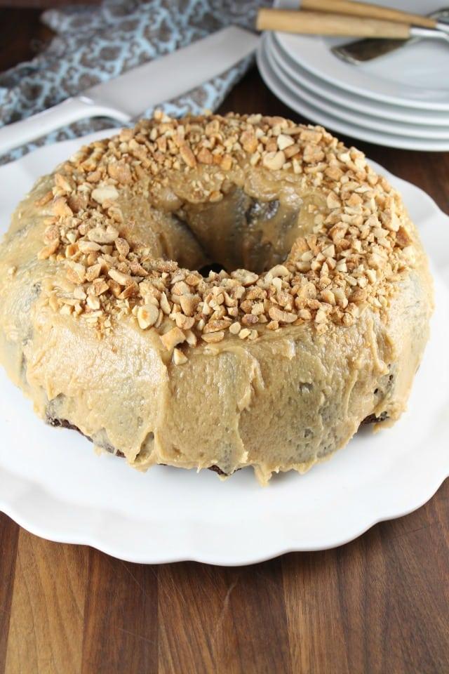 Apple Butter Bundt Cake with Peanut Butter Icing ~ MissintheKitchen.com