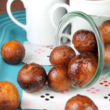 Recipe for Chai Glazed Donut Holes from MissintheKitchen.com