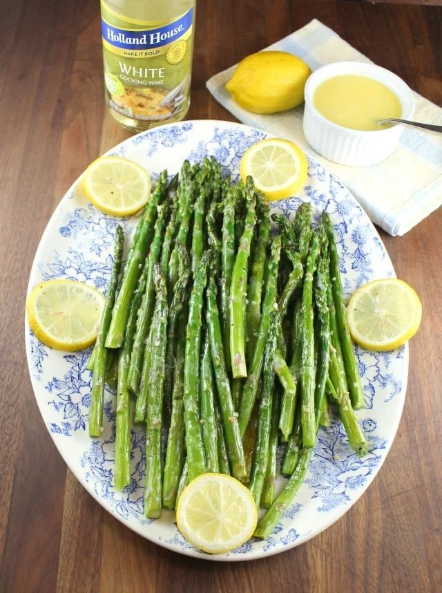 Garlic roasted asparagus with lemon sauce garlic roasted asparagus with lemon sauce with holland house cooking wine from missinthekitchen ccuart Choice Image