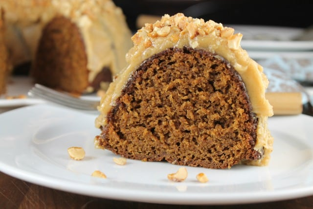 Slice of Apple Butter Bundt Cake from Miss in the Kitchen
