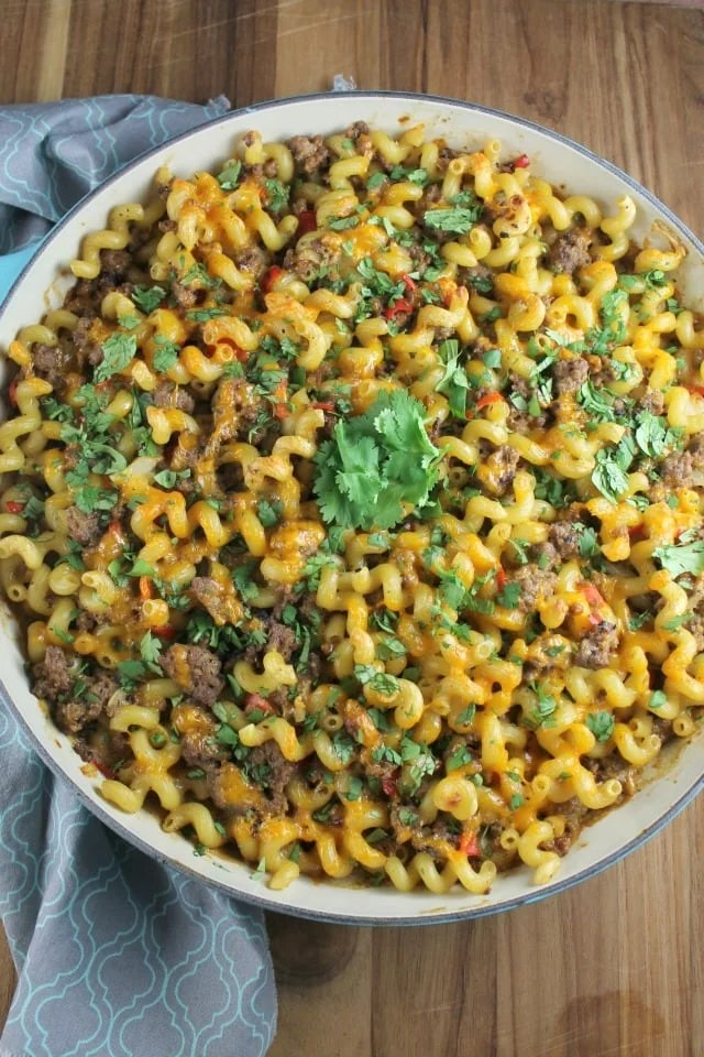 Great dinner idea! Zesty Taco Pasta Bake ~ Recipe from MissintheKitchen.com