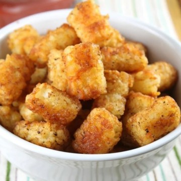 Recipe for Oven Fried Tater Tots from MissinthKitchen.com