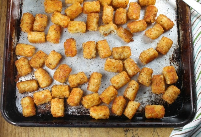 Sheet Pan of Oven Fried Tater Tots from MissintheKitchen.com