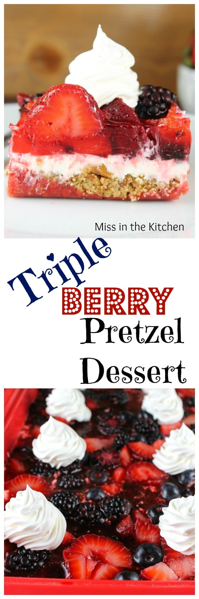 Recipe for Triple Berry Dessert from MissintheKitchen.com #ProgressiveEats