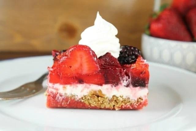 Triple Berry Pretzel Dessert Recipe ~ MissintheKitchen