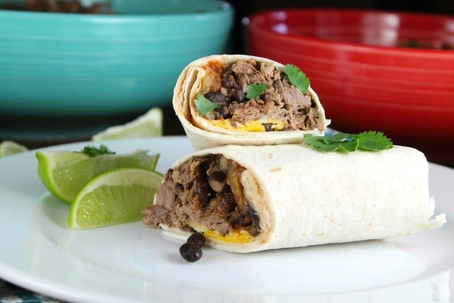 Beef and Bean Burritos made in the slow cooker ~ MissintheKitchen