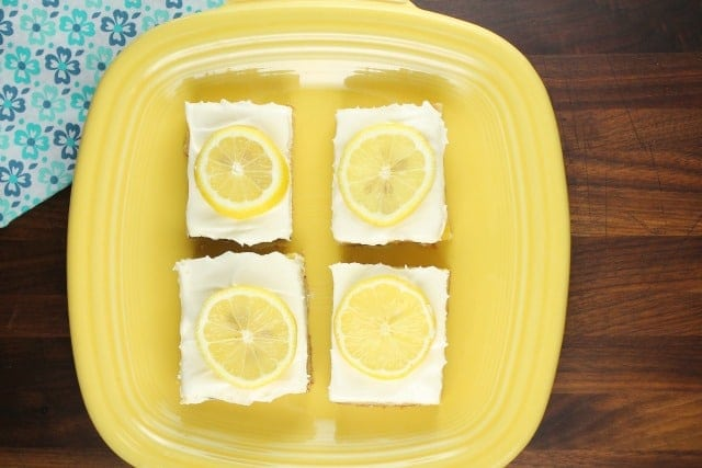 Lemon Bars with Cream Cheese Icing Recipe from Miss in the Kitchen
