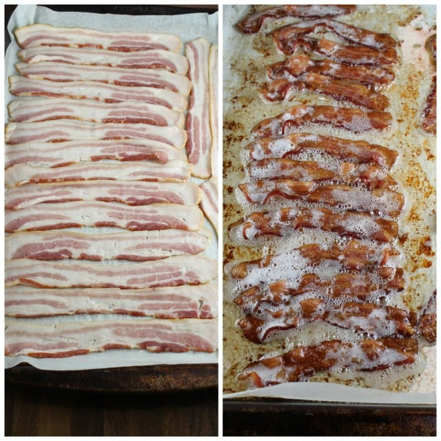 Bacon slices on a baking sheet, Baked Bacon Slices