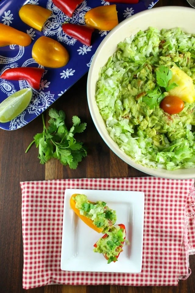 Pineapple Guacamole Recipe from MissintheKitchen.com with Produce for Kids