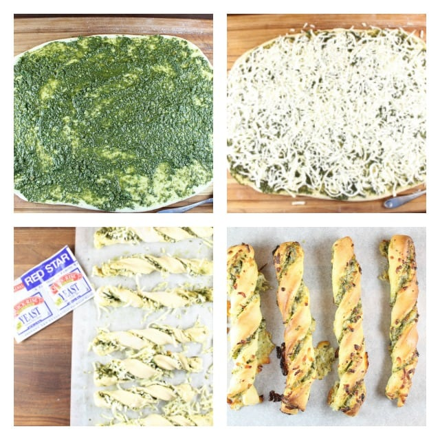 Cheesy Pesto Breadsticks Recipe made with Red Star Yeast From MissintheKitchen.com #ad